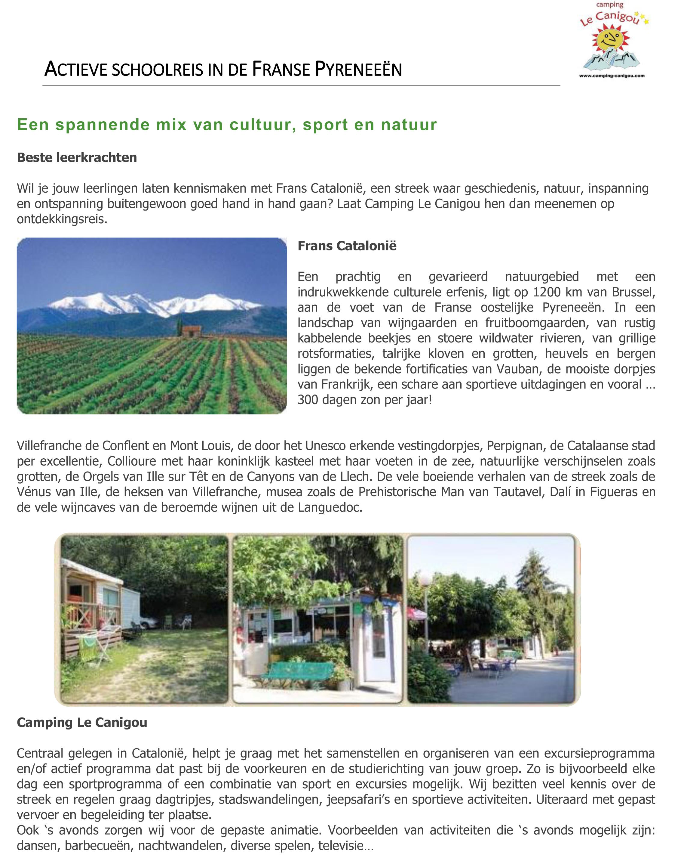 Actieve schoolreis in de Franse Pyreneeën